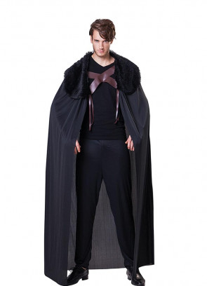 Medieval Faux Fur Collared Cape - Black - Thrones