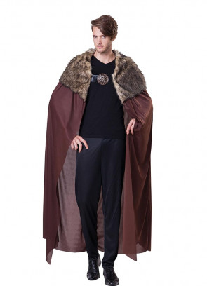 Deluxe Medieval Faux Fur Collared Cape - Brown - Thrones