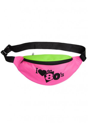 "I Love the 80s Bumbag – Black Print - up to 48"" Waist"