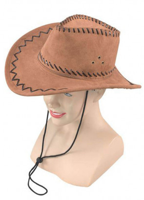 Light Brown Stitched Cowboy Hat