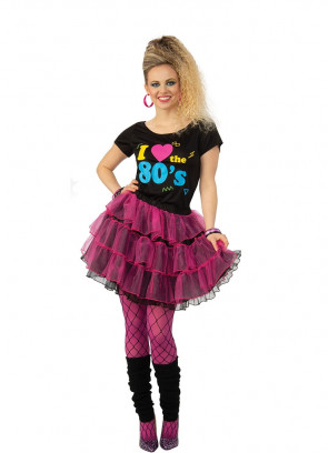 I Love the 80s Costume - Pink Skirt