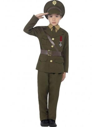 Army Officer - Green Uniform - Boys Costume