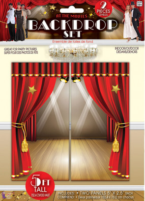 At the Movies Red Curtain Backdrop Scene Setter