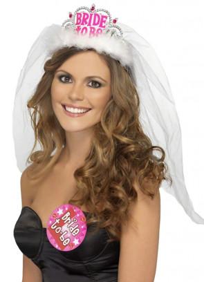 Bride To Be Tiara & Veil - White