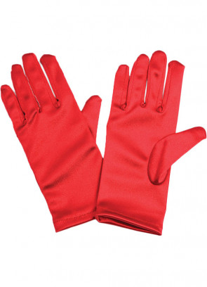 Red Satin Gloves (Kids)