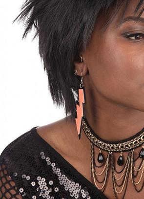 80s Lightning Rave Earrings - Neon Orange