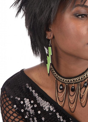 80s Rave Earrings - Neon Green