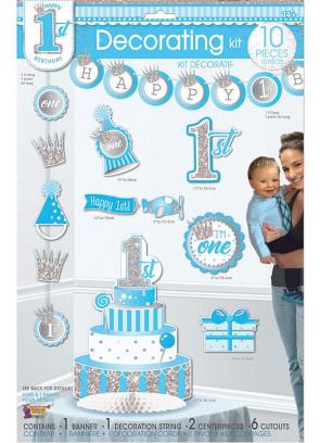 Happy 1st Birthday Decorating Kit – Baby Boy - 10 piece Set