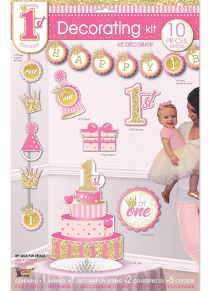 Happy 1st Birthday Decorating Kit – Baby Girl - 10 piece Set