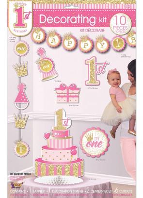 Happy 1st Birthday Decorating Kit – Baby Girl - 10 piece Set