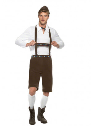 Bavarian Man Brown Lederhosen Costume