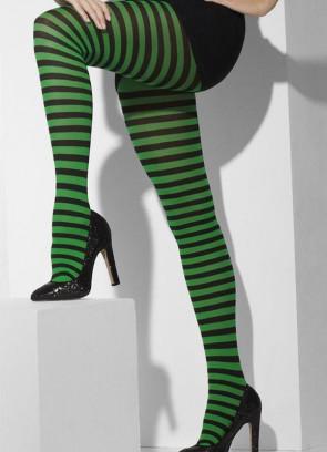 Black & Green Striped Tights - Dress Size 6-18