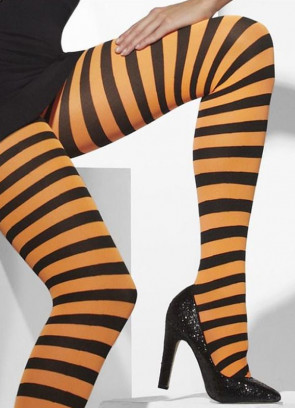Black & Orange Striped Tights - Dress Size 6-18
