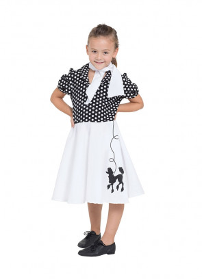 Black & White Poodle Dress – Girls