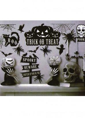 Black and White Halloween Window Stickers