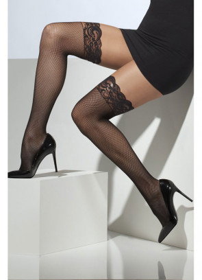 Black Fishnet Stockings Hold-Ups - Dress Size 6-14