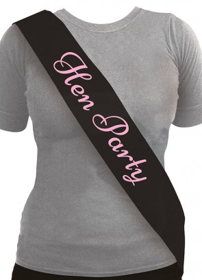Hen Party Sash - Black (10 pack)