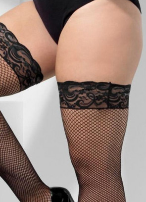 Black Lace top Fishnet Stockings XL - Dress Size 16-22