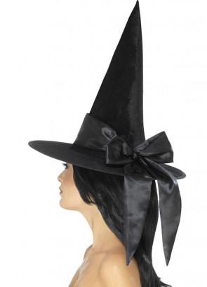 Black Velvet Witch Hat - Satin Bow