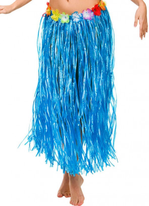 "Hawaiian Long Blue Grass Skirt with Flowers - will fit up to waist size 40"" or 102cm"