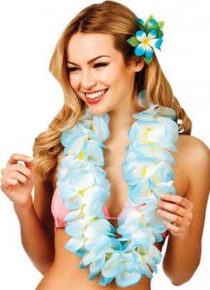 Hawaiian Lei Two-toned Blue/White