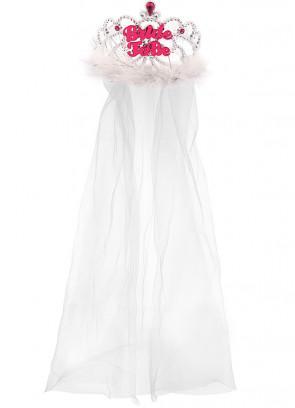 Bride To Be Tiara & Veil with Fur