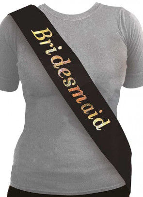 Bridesmaid Sash - Black/Holographic