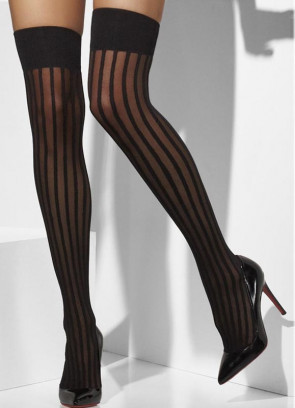 Burlesque Stockings - Vertical Stripes - Dress Size 6-14