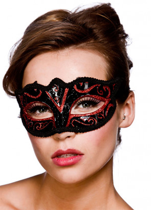 Calypso Eye Mask - Black & Red