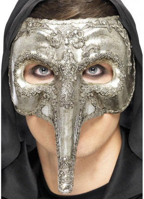 Venetian Antique Silver Nasone Eye Mask