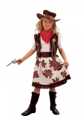 Girls Cowgirl Cow-Print Costume