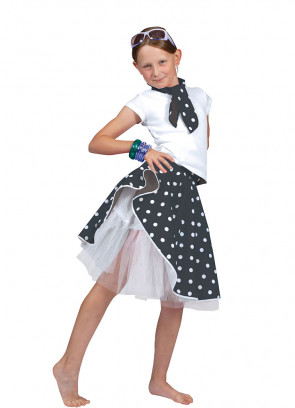 Childs Rock and Roll Polkadot Skirt Black