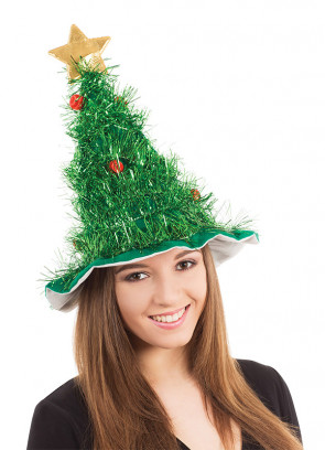 Tinsel Christmas Tree Hat with Star