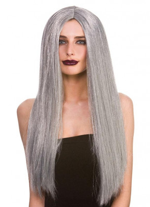 "Classic Long 24"" Grey Wig"