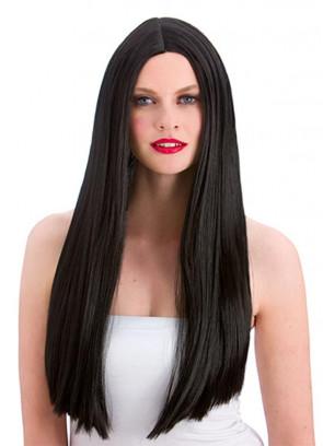 "Classic Long 24"" Black Wig"