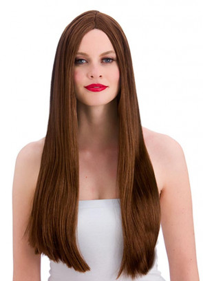 """Classic Long 24"""" Brown Wig"""