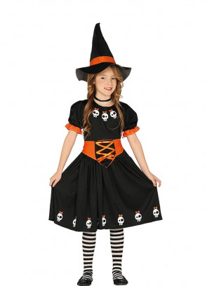Black Witch Girls Costume - Orange Belt