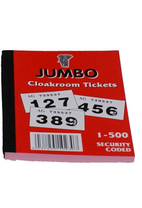 Cloakroom Tickets: 1-500