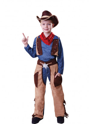 Wild West Boys Cowboy Costume - Blue Shirt