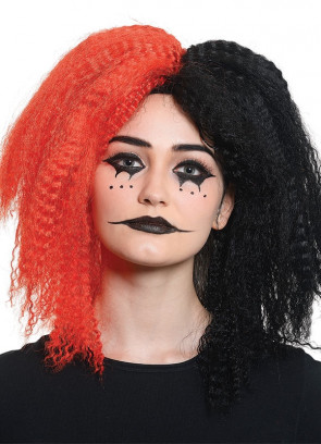Crazy Girl Black and Red Wig