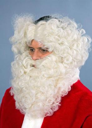 Cream Santa Wig & Beard - Monks-pat design wig