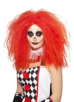 Red Crimped Clown Wig