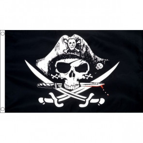 Pirate Skull with Crossed Sabres Flag 5x3