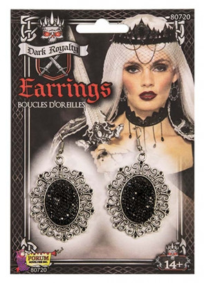 Dark Royalty Earrings - Black Stone