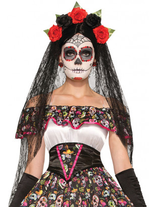 Day of the Dead Black Veil Headband