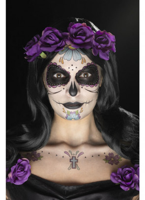 Day of the Dead Purple Face Tattoo Transfers Kit