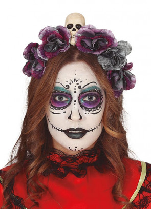 Day of the Dead Flower & Skull Headband
