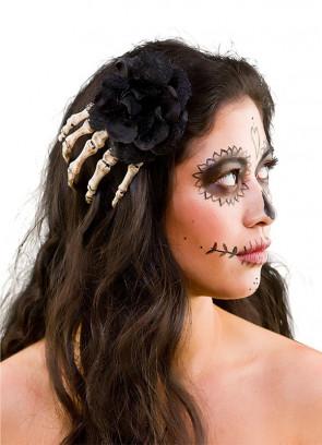 Day of the Dead Skeleton Rose Hair Clip