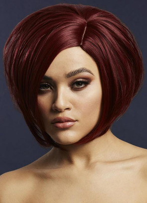 Deluxe Savanna Asymmetric Bob with Side Parting – Deep Red - Styleable