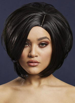 Deluxe Savanna Asymmetric Bob with Side Parting – Black - Styleable